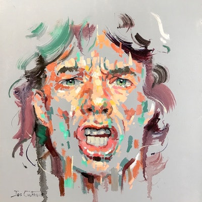 (CreativeWork) Mick Jagger by Jos Coufreur. Oil Paint. Shop online at Bluethumb.