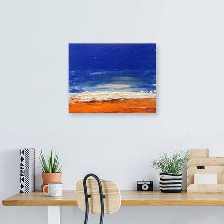 (CreativeWork) Sand and Surf - textured beachscape by Tina Barr. Acrylic Paint. Shop online at Bluethumb.