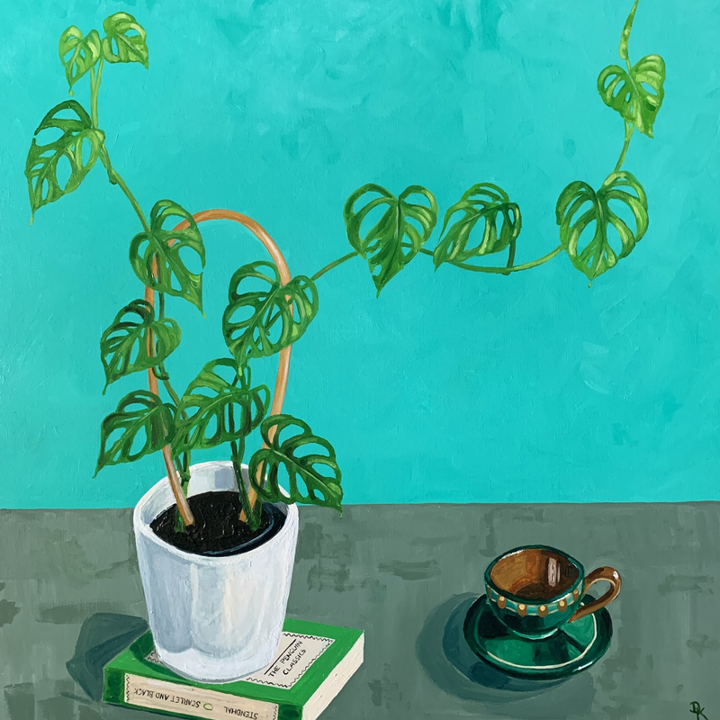 (CreativeWork) Stendhal, Monstera & Babcia's Tea Cup by Dominika Keller. Acrylic Paint. Shop online at Bluethumb.