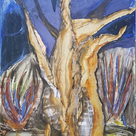 (CreativeWork) Baobab by Laurie Franklin. Mixed Media. Shop online at Bluethumb.