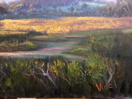 (CreativeWork) Sunset on Arapiles, Victoria - ready  to hang by Christopher Vidal. Oil Paint. Shop online at Bluethumb.
