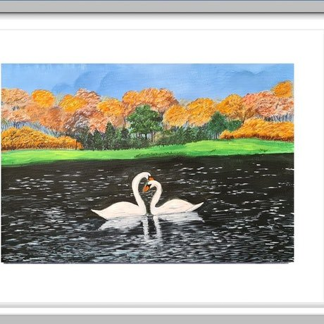 (CreativeWork) Swan pair in Lake by Deepmani -. Acrylic Paint. Shop online at Bluethumb.
