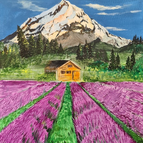 (CreativeWork) Snowy mountains and lavender field by Deepmani -. Acrylic Paint. Shop online at Bluethumb.