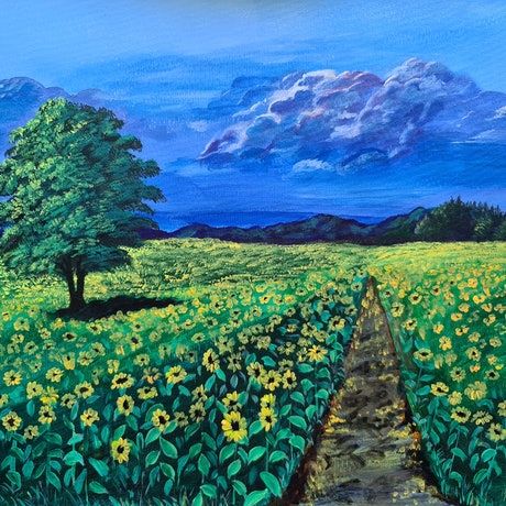 (CreativeWork) The Sunflower Field by Deepmani -. Acrylic Paint. Shop online at Bluethumb.