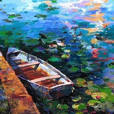 (CreativeWork) Boat and Waterlilies 3 by Jos Coufreur. Acrylic Paint. Shop online at Bluethumb.