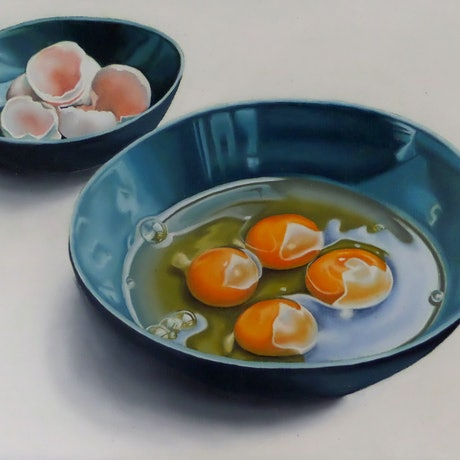 (CreativeWork) Cracked Egg Still Life by Marija Skroza. Oil Paint. Shop online at Bluethumb.