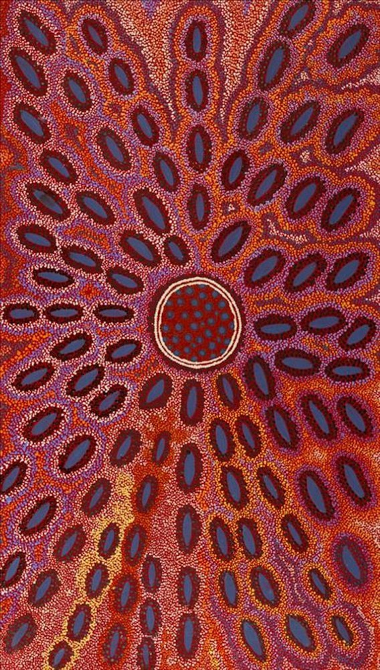 (CreativeWork) Pamapardu Jukurrpa (Flying Ant Dreaming) - Warntungurru (4665/19)  by Agnes Nampijinpa Fry. Acrylic Paint. Shop online at Bluethumb.
