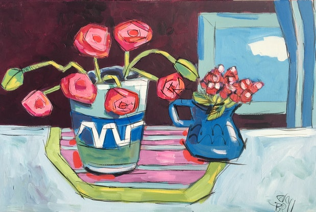 (CreativeWork) Pink Poppies by sara bell. Acrylic Paint. Shop online at Bluethumb.
