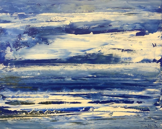 (CreativeWork) Ocean of Blue - textured seascape by Tina Barr. Acrylic Paint. Shop online at Bluethumb.
