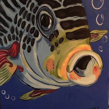 (CreativeWork) Fish Alive! by sara bell. Acrylic Paint. Shop online at Bluethumb.