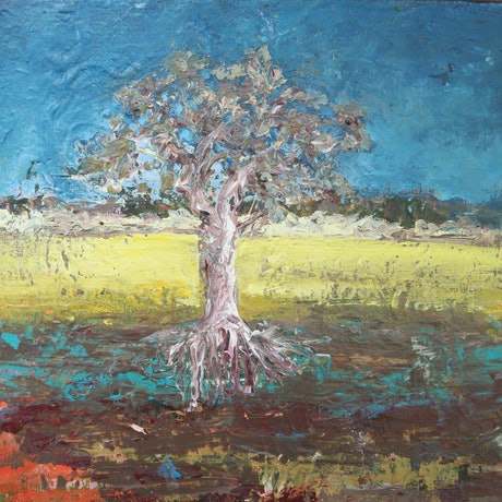 (CreativeWork) One tree  by andrew neilan (naylan). Acrylic Paint. Shop online at Bluethumb.