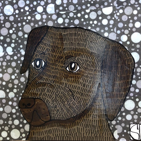 (CreativeWork) Chocolate Labrador 🍫  by Sally Dunbar. Mixed Media. Shop online at Bluethumb.