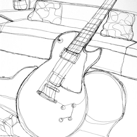 (CreativeWork) Guitar lounge -Framed by Phil Herbison. Drawings. Shop online at Bluethumb.