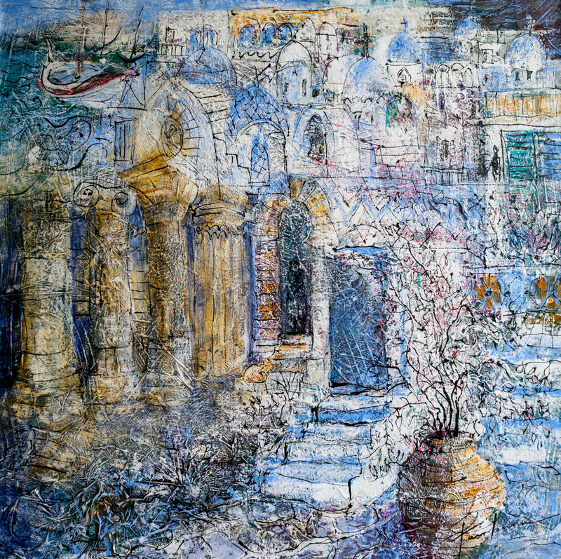 (CreativeWork) Greek Odyssey by Pamela Fairburn. Mixed Media. Shop online at Bluethumb.
