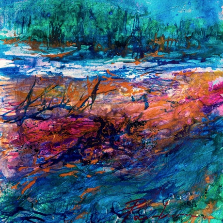 (CreativeWork) Gold River by Pamela Fairburn. Mixed Media. Shop online at Bluethumb.