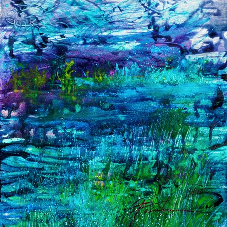 (CreativeWork) Glacier Lake by Pamela Fairburn. Mixed Media. Shop online at Bluethumb.