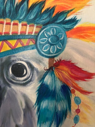 (CreativeWork) Chief -original oil painting whimsy cockatoo bird  by Mia Laing. Oil Paint. Shop online at Bluethumb.