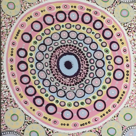 (CreativeWork) Aboriginal dot painting 'coral on the reef'  by gidabul doobay. Acrylic Paint. Shop online at Bluethumb.