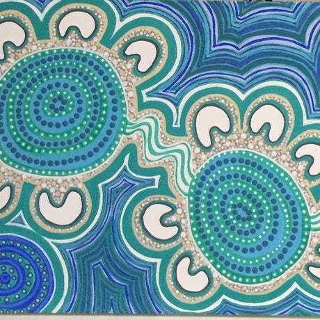 (CreativeWork) Aboriginal dot painting 'coastal clan' by gidabul doobay. Acrylic Paint. Shop online at Bluethumb.
