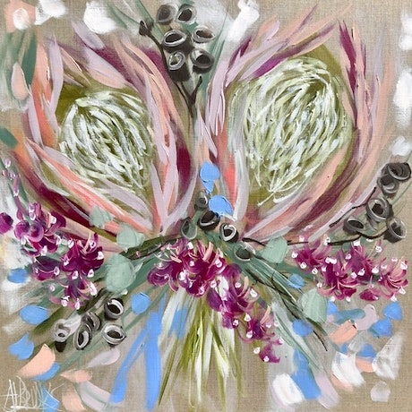 (CreativeWork) Petite protea  by Amanda Brooks. Acrylic Paint. Shop online at Bluethumb.
