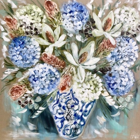 (CreativeWork) Hampton's glory magnolia and bush natives  by Amanda Brooks. Acrylic Paint. Shop online at Bluethumb.