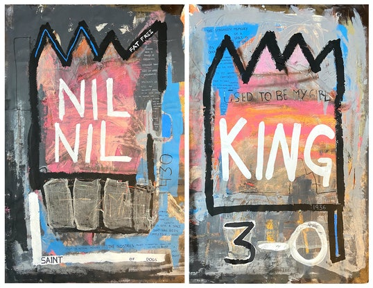 (CreativeWork) The Kings Fight by Juan Alcala. Acrylic Paint. Shop online at Bluethumb.
