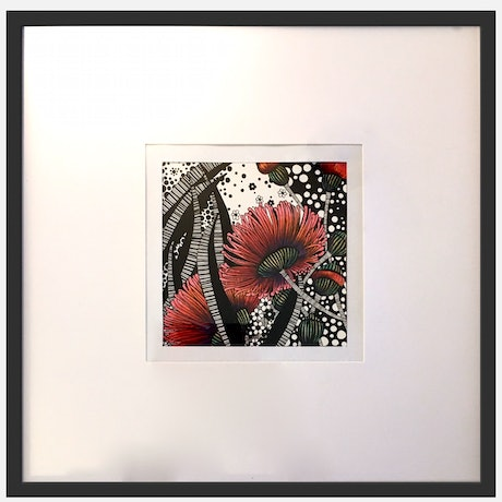 (CreativeWork) Raspberry Dancing Gumnuts 2 by Tania Daymond. Drawings. Shop online at Bluethumb.