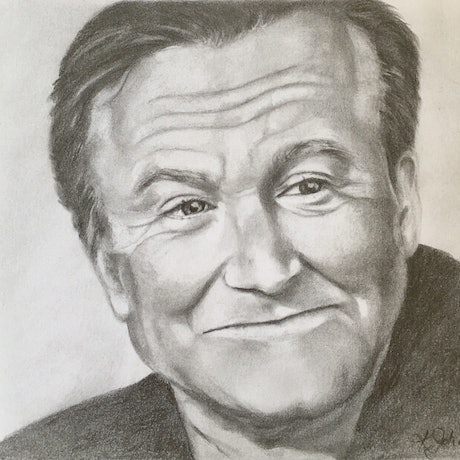 (CreativeWork) Robin Williams by Kathryn Johnston. Drawings. Shop online at Bluethumb.