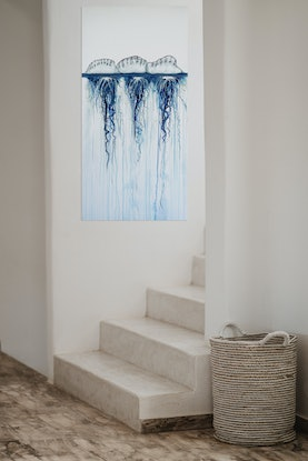 (CreativeWork) Bluebottle - Tendrils of blue by Naomi Veitch. Acrylic Paint. Shop online at Bluethumb.
