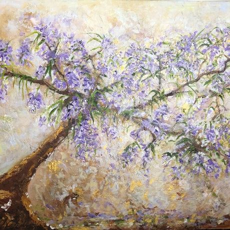 (CreativeWork) Jacaranda Gold by Sue Burton. Acrylic Paint. Shop online at Bluethumb.