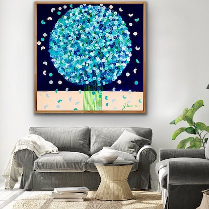 (CreativeWork) Hamptons posie 102x102 framed large abstract by Sophie Lawrence. Acrylic Paint. Shop online at Bluethumb.