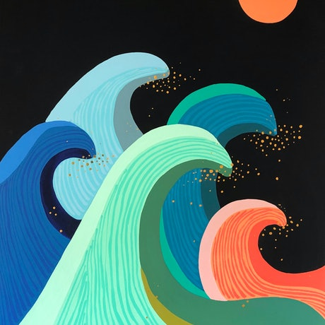 (CreativeWork) Rolling waves by emma whitelaw. Acrylic Paint. Shop online at Bluethumb.