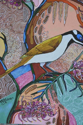 (CreativeWork) Commision for Sarah, Blue-faced Honeyeater by Naomi Malone. Acrylic Paint. Shop online at Bluethumb.