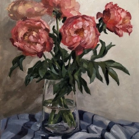 (CreativeWork) Peonies by Katia Strounina. Oil Paint. Shop online at Bluethumb.