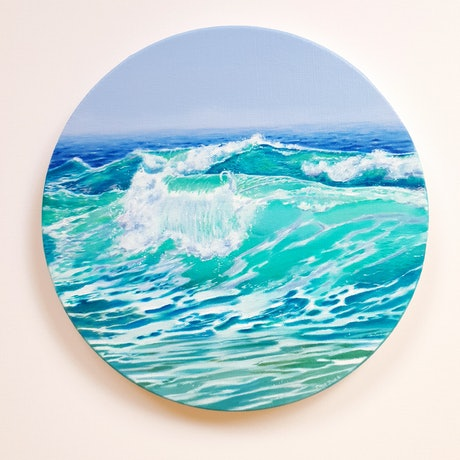 (CreativeWork) Blue Moments by Emma Duck. Oil Paint. Shop online at Bluethumb.