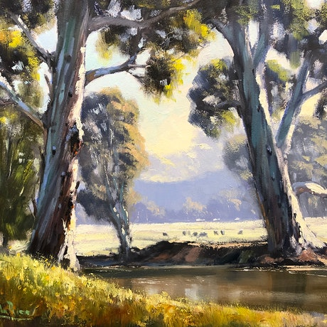 (CreativeWork) On The Banks Of The Cudgegong by John Rice. Oil Paint. Shop online at Bluethumb.