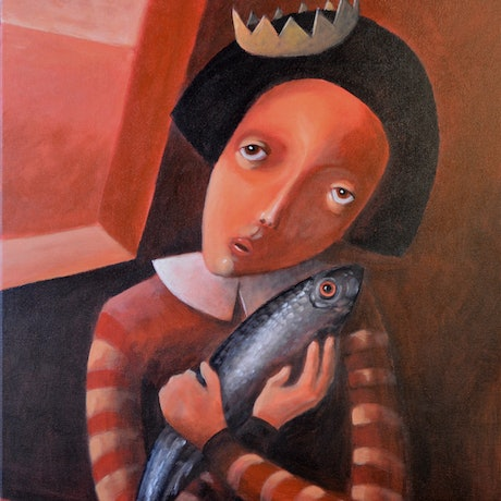 (CreativeWork) Lady with trout by Max Horst  Sokolowski. Acrylic Paint. Shop online at Bluethumb.