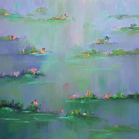 (CreativeWork) Dusk Arrives At Giverny by Rod Moore. Oil Paint. Shop online at Bluethumb.