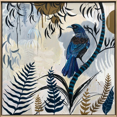 (CreativeWork) Tui Forest by Sally Browne. Acrylic Paint. Shop online at Bluethumb.