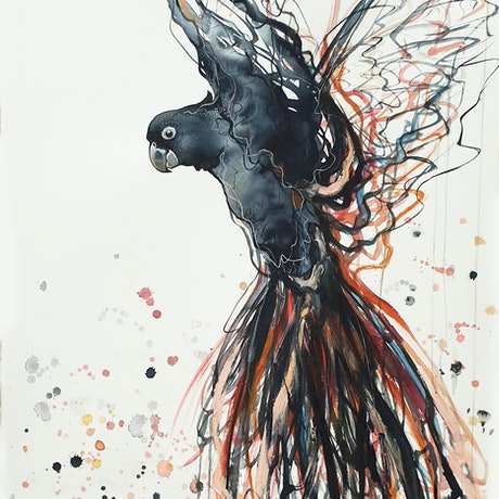 (CreativeWork) Call of the Black Cockatoo  (Original Bird Painting on Paper) by Leni Kae. Mixed Media. Shop online at Bluethumb.