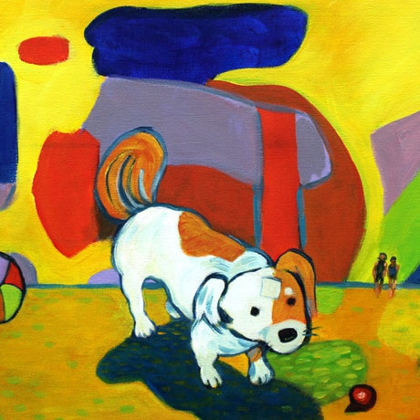 (CreativeWork) The Little Dog Laughed by Dale Leach. Acrylic Paint. Shop online at Bluethumb.