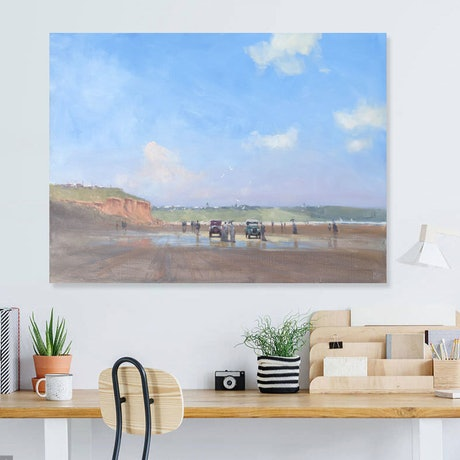 (CreativeWork) Sunspot reflections - beachscape from long ago by Mike Barr. Oil Paint. Shop online at Bluethumb.