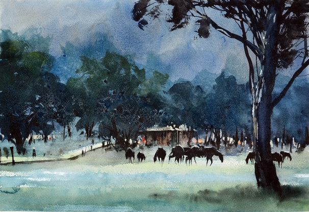 (CreativeWork) Farm House by It Hao Pheh. Watercolour Paint. Shop online at Bluethumb.
