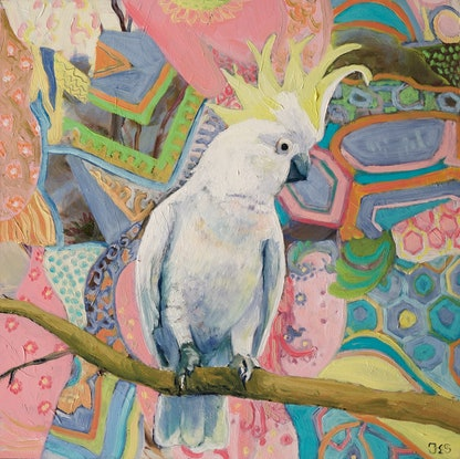 (CreativeWork) Hippy trippy cocky, cockatoo on boho fabric by fiona smith. Oil Paint. Shop online at Bluethumb.