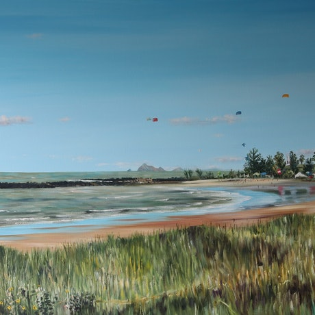 (CreativeWork) 'Fishermen's beach, Emu Park by CATHERINE BOREHAM. Oil Paint. Shop online at Bluethumb.