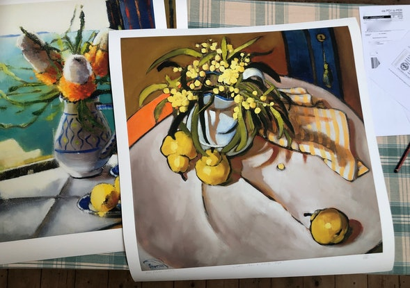 (CreativeWork) (Print) Wattle, Pears and orange stripe Ed. 4 of 20 by kirsty mcintyre. Print. Shop online at Bluethumb.