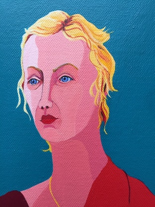 (CreativeWork) Pip - finalist SBS Portrait Prize  by Marian Quigley. Acrylic Paint. Shop online at Bluethumb.