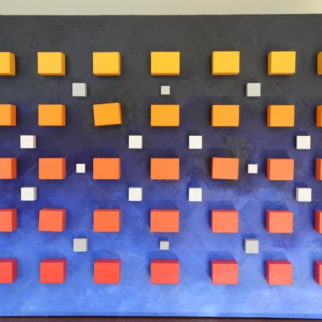 (CreativeWork) Geometric cubes 1 by John Waltrich. Mixed Media. Shop online at Bluethumb.