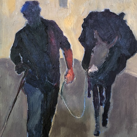 (CreativeWork) A man and his donkey by Bronwen Hunt. Oil Paint. Shop online at Bluethumb.