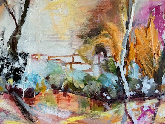 (CreativeWork) On the River by Ann Rayment. Mixed Media. Shop online at Bluethumb.